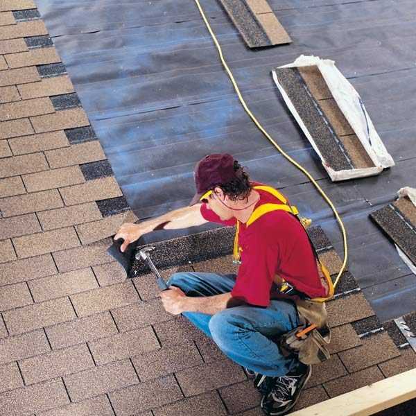 How to install shingles the family handyman for How to roof a house step by step