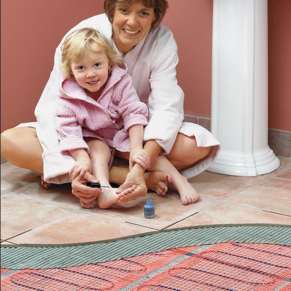 Heated Bathroom Floor floor pad and tile Warm Up Cold Bathroom Floors With Electric In Floor Heating Mats