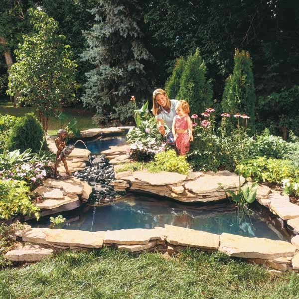 Building Backyard Ponds how to build a water garden stream | the family handyman