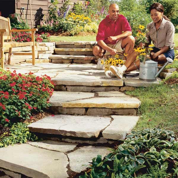 Natural Building Stone Steps : How to build a garden path the family handyman