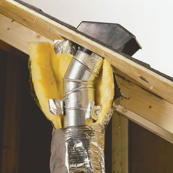 Venting exhaust fans through the roof the family handyman for 2 bathroom exhaust fan venting
