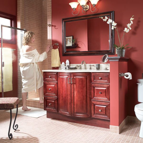 Install a vanity sink the family handyman - How to install a bathroom vanity ...
