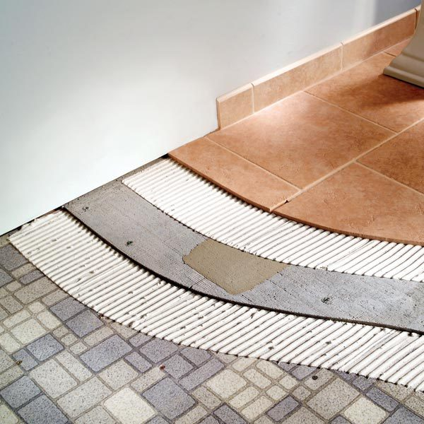 Tile For Bathroom Floor start by popping chalk lines on the floor from the center of each wall to find the exact center of the floor to keep the chalk lines from smudging How To Tile Bathroom Floors