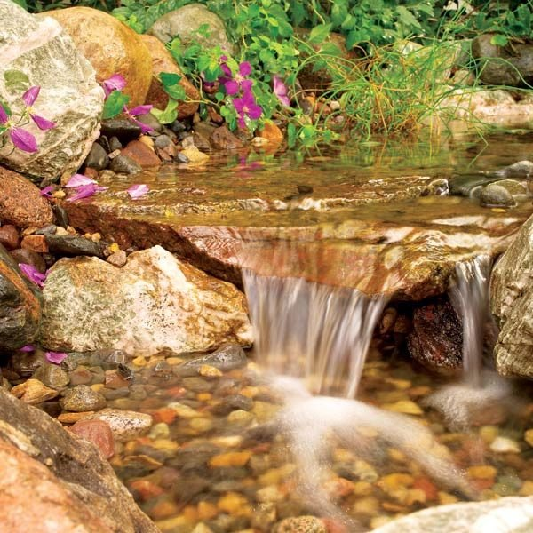 rippling rock lined stream with multiple waterfalls in your backyard