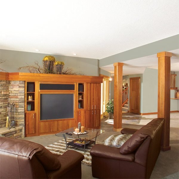 How to finish a basement framing and insulating the for Images of finished basements