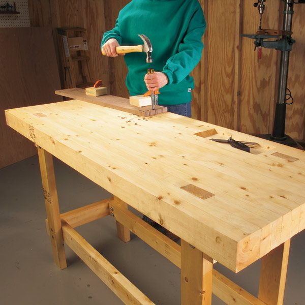 Build a work bench on a budget the family handyman for Simple workshop table