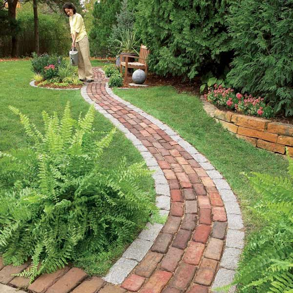 Build a brick pathway in the garden the family handyman for Garden path designs