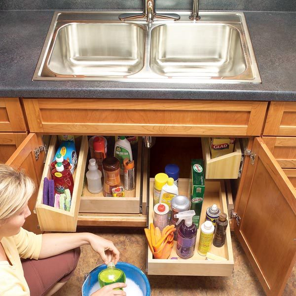 How to Build Kitchen Sink Storage Trays | The Family Handyman Under Kitchen Sink Shelving on drawers under kitchen sink, paint under kitchen sink, cleaning under kitchen sink, plumbing under kitchen sink, storage under kitchen sink, painting under kitchen sink, curtains under kitchen sink, electrical under kitchen sink,