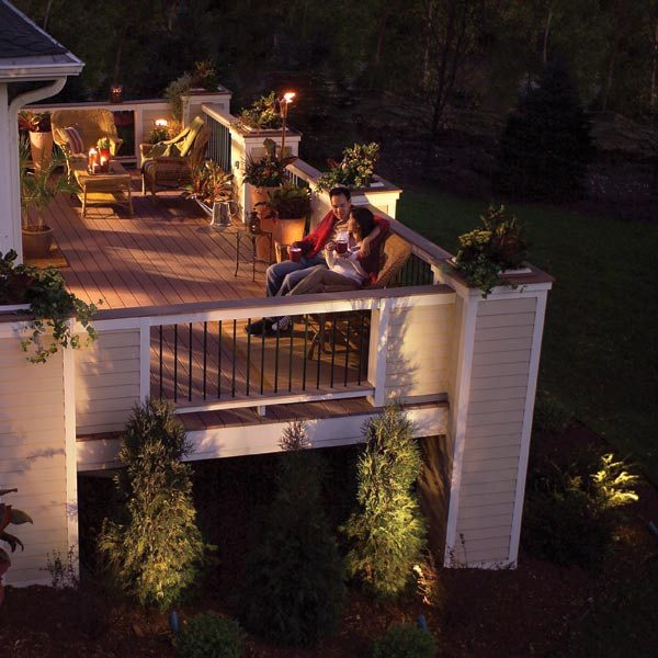 Illuminate your deck with low voltage light fixtures the for Low voltage deck lighting