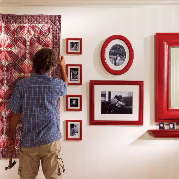 Learn how to hang pictures, heavy mirrors, keyhole shelves and quilts ...