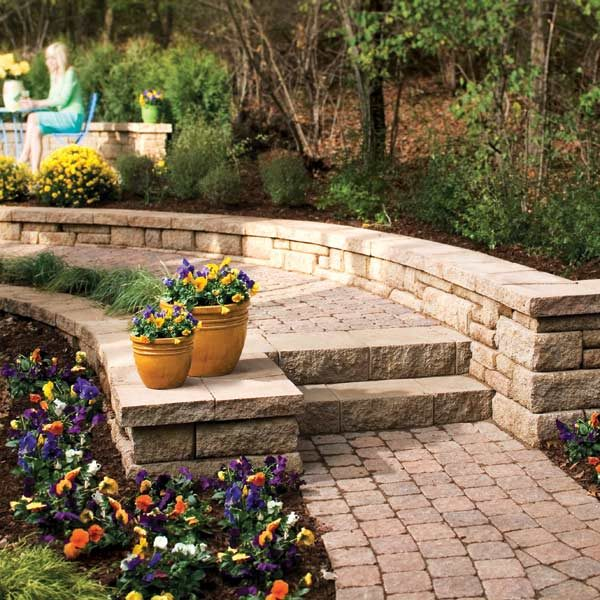 Landscape Blocks On A Slope : How to build a stone path and steps the family handyman