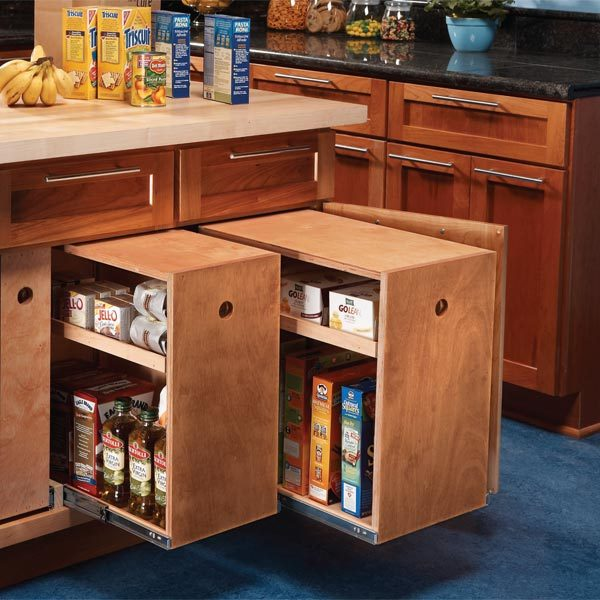 build organized lower cabinet rollouts for increased kitchen storage the family handyman. Black Bedroom Furniture Sets. Home Design Ideas