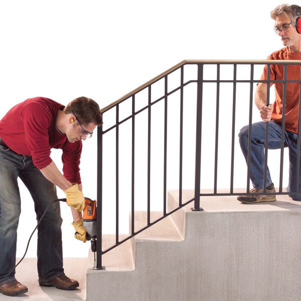 safety first install an outdoor staircase railing the. Black Bedroom Furniture Sets. Home Design Ideas