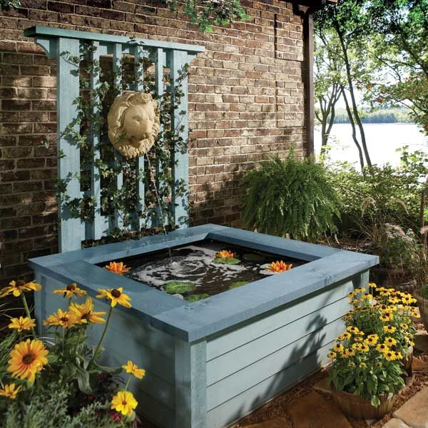 Outdoor pond ideas pond in a box the family handyman for Diy patio pond