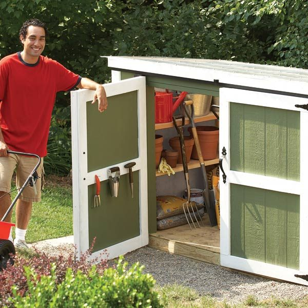 Outdoor storage locker the family handyman for Lawn mower storage shed