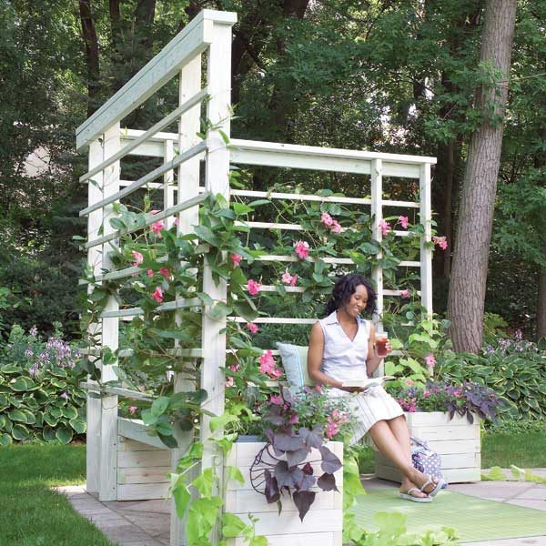 How To Build An Arbor With Built In Benches The Family Handyman