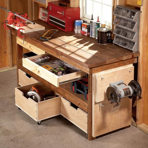 Workbench plans workbenches the family handyman for Working table design ideas
