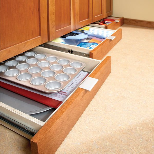 How to build under cabinet drawers increase kitchen Kitchen under cabinet storage ideas