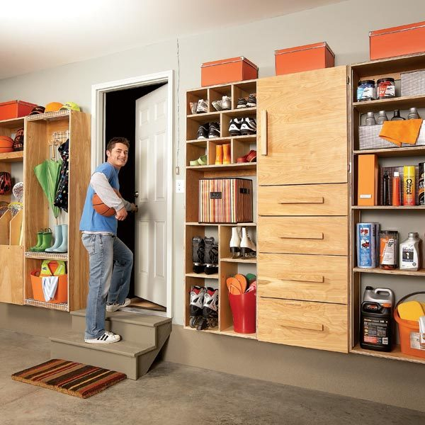 Garage Pantry Cabinets With Storage Backdoor Center The Family Handyman Kitchen