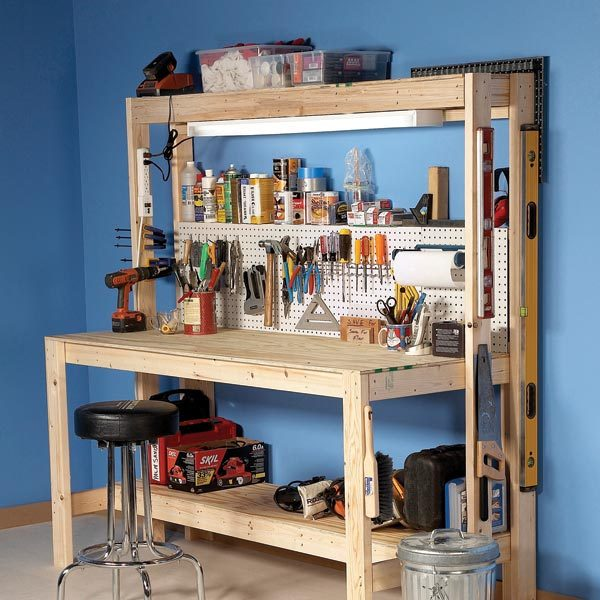 Do It Yourself Garage Workbench Plans: How To Build A Workbench: Super Simple $50 Bench