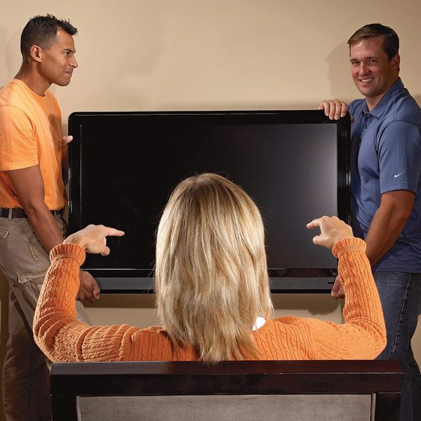how to hang a flat screen tv the family handyman. Black Bedroom Furniture Sets. Home Design Ideas
