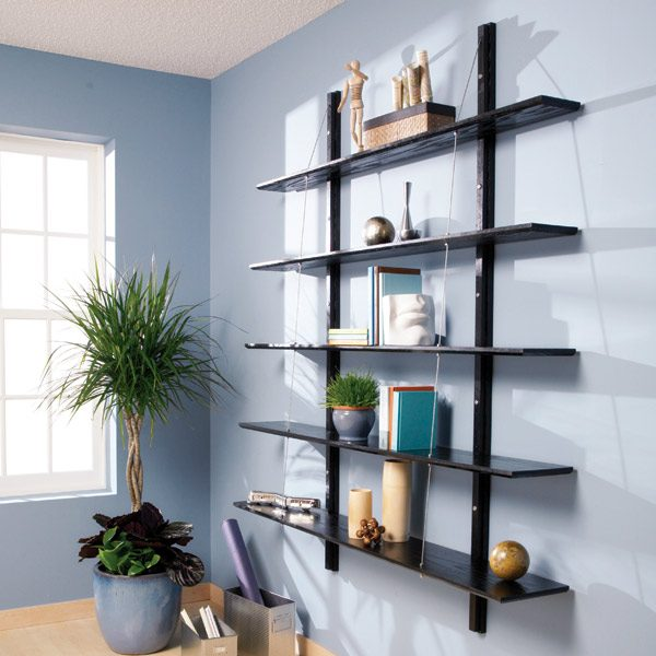 Do It Yourself Home Design: How To Build Suspended Bookshelves