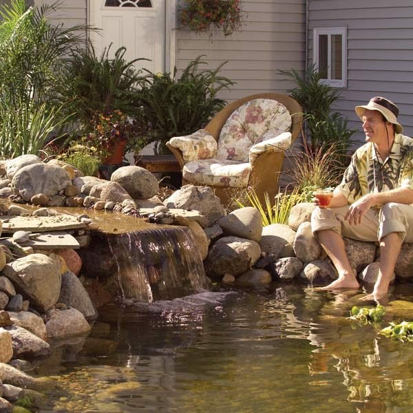 Backyard ponds the family handyman for Build a simple backyard waterfall