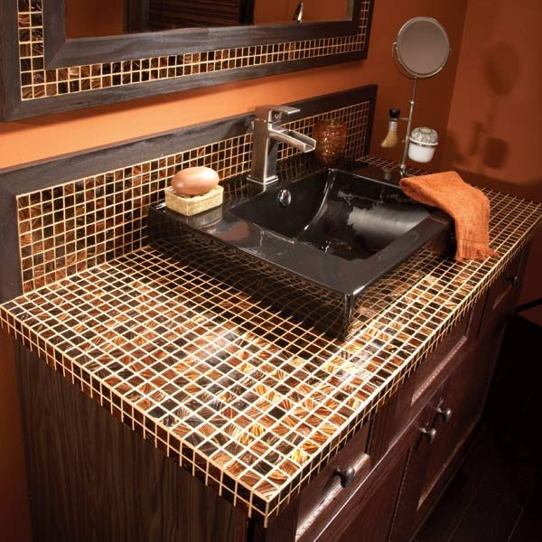 Elegant Master Bath Vanity Tile Backsplash