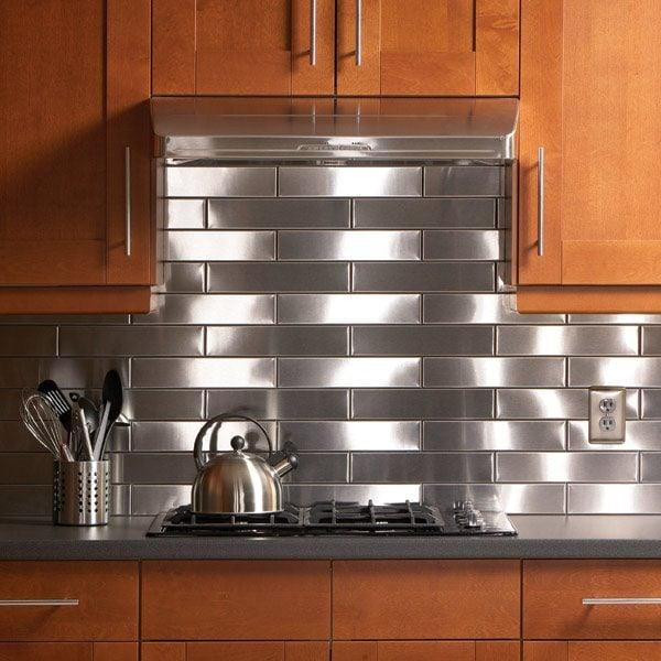 Kitchen With Backsplash Idea: Stainless Steel Kitchen Backsplash