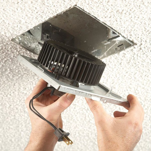 How to install an exhaust fan the family handyman - How to install a bathroom ceiling fan ...