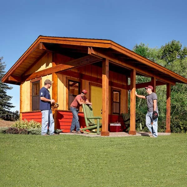 How to build a shed with a front porch the family handyman for Shed with porch
