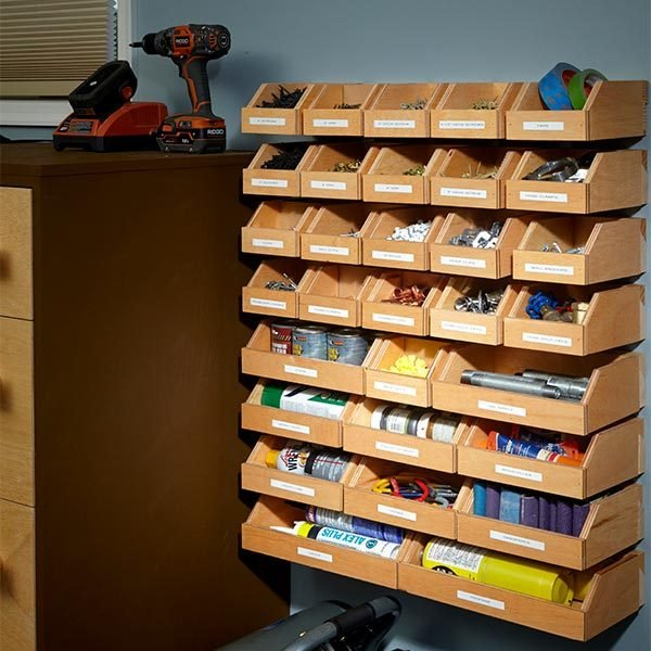 Organize your garage shelving with this plan for a system of hanging ...