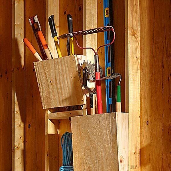 Easy Garage Cabinets Plans: Slanted Garden Tool Rack Plans