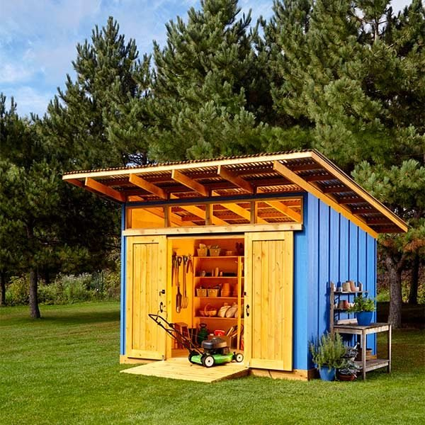 Shed plans storage shed plans the family handyman for Shed roof design ideas