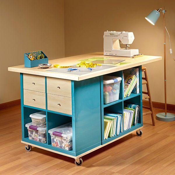 Ikea kallax hack craft room storage the family handyman - Table couture ikea ...