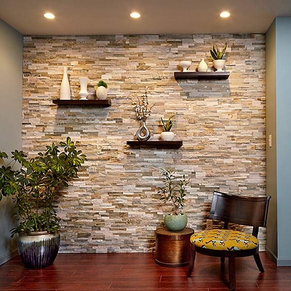 Family Room Feature Wall Ideas Half Rock