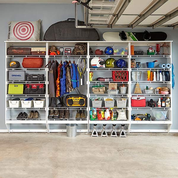Wire shelving melamine garage storage plans the family for Garage plans with storage