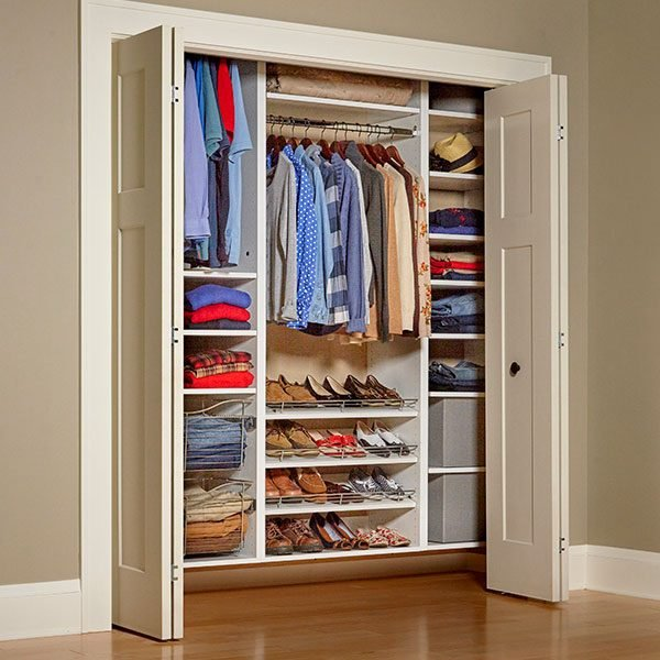 Build your own melamine closet organizer the family handyman for How to build a walk in closet step by step