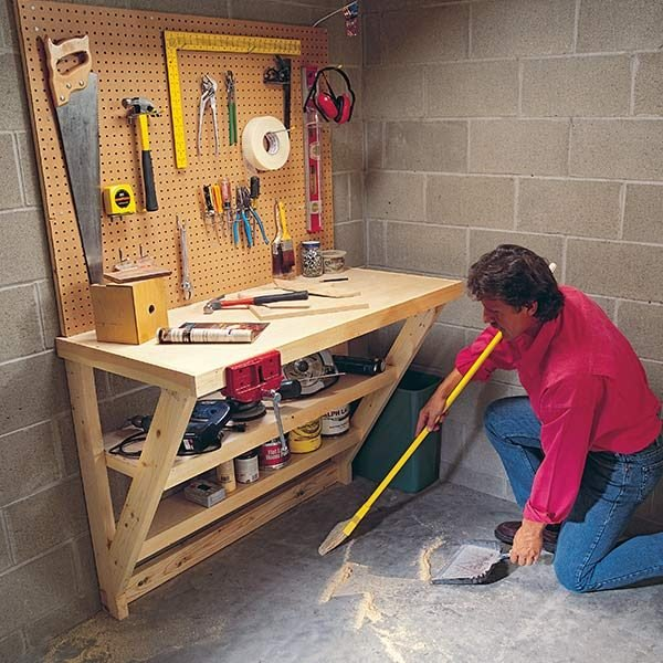 Wood work bench the family handyman for Simple workshop table