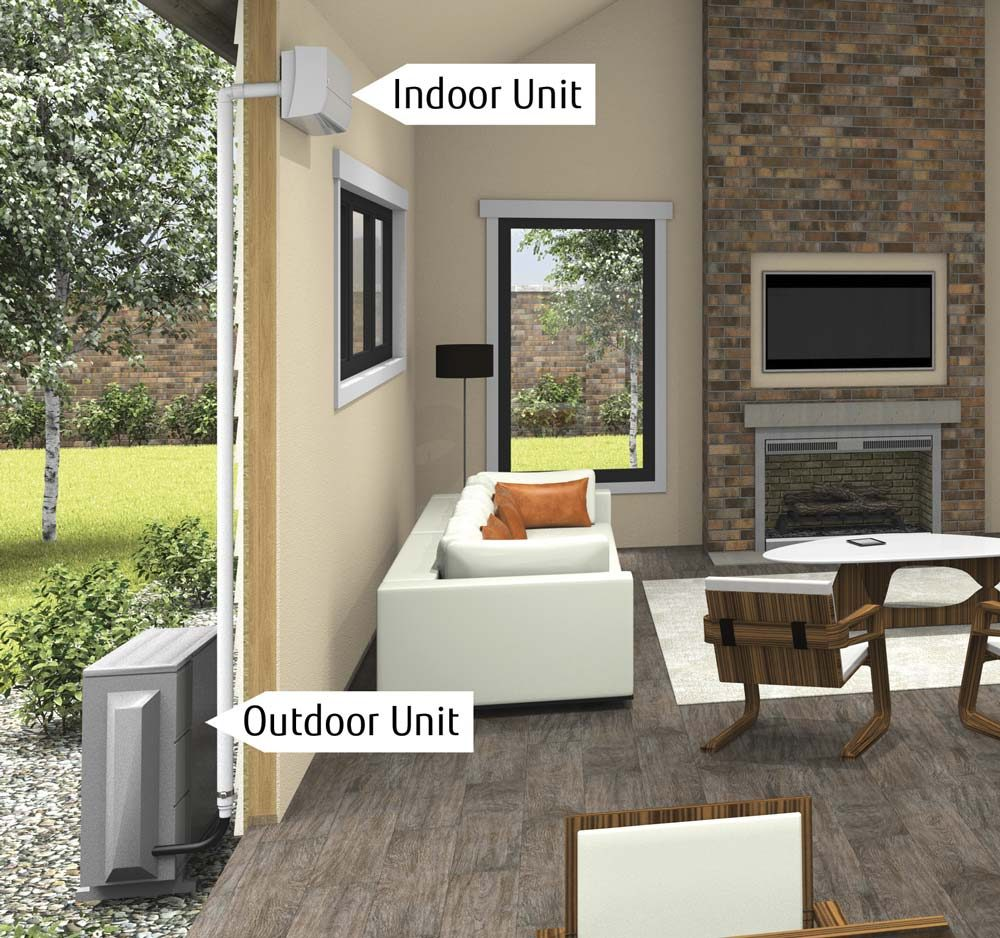 Ductless mini split heating and cooling systems the for Split wall