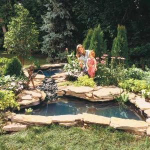 How to build a water garden stream the family handyman for Garden pond building instructions