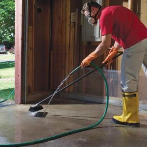 Removing oil paint and other concrete stains test the for Removing oil stains from concrete garage floor