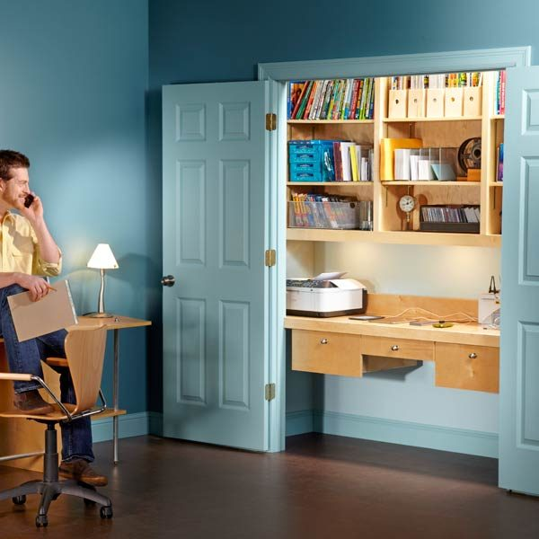 Admirable How To Turn A Closet Into An Office The Family Handyman Largest Home Design Picture Inspirations Pitcheantrous