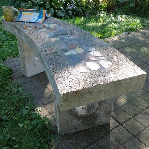 Stone Inlay Concrete Bench