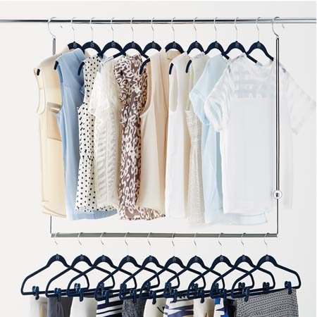 "<b>Twice the Hanging Space</b></br> Double your hanging space with a <a href=""http://www.containerstore.com/s/dublet-adjustable-closet-rod-expander-by-umbra/d?productId=10015612&q=hanging%20rod"" title=""Doublet Adjustable Closet Rod Expander"" target=""_blank"">Doublet adjustable closet rod</a>. Try hanging special occasion clothes high, and casual, play clothes on the lower rod where children can easily reach."