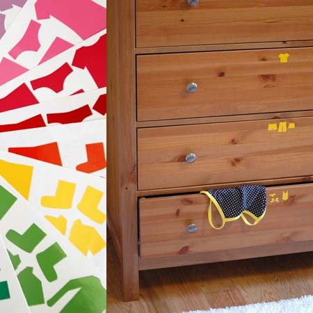 "<b>No Reading Required</b></br> Teach children to put clothes away in the correct drawer by visually labeling each drawer's contents with <a href=""http://crafterhours.bigcartel.com/product/drawer-organizer-stickers-boys"" title=""Clothes Shaped Vinyl Stickers"" target=""_blank"">clothes-shaped vinyl stickers</a> – no reading required."