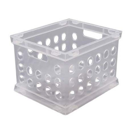"<b>Keep Tough-to-Fold Items in Plastic Crates</b></br> Hang <a href=""https://www.amazon.com/dp/B00FUASCE6/"" title=""Small Plastic Crate"" target=""_blank"">small plastic crates</a> with cup hooks on the underside of a closet shelving board to store items that have a hard time staying folded like socks, underwear, swimsuits, and hats."