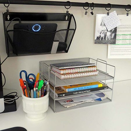 <b>Keep Supplies within Arm's Reach</b></br> <p>You can hang file baskets, pen cups, documents, memos, photos, you name it from the utility bar clips. Best part is, you can change, rearrange, and replace by sliding and clipping. The hanging file baskets are thin and don't stick out too far, and the storage keeps the mess up and off the desktop, leaving more room to work.</p>