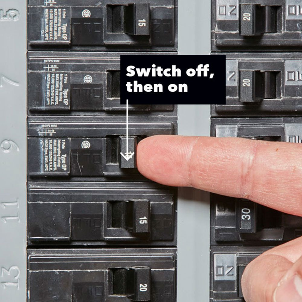 "<b>Off, then Back On</b></br> <p>To reset a breaker, move the switch all the way to its ""off"" position, then back to ""on"". You might hear a few beeps from smoke detectors and appliances when you turn the power back on, but that's normal. You're good to go!</p> <p>"
