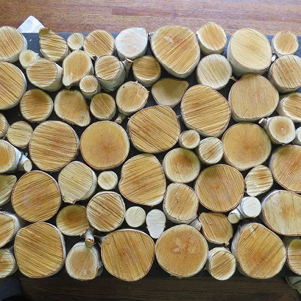 <b>Puzzle your Layout</b></br> <p> Once the paint is dry on your plywood, and you have gathered your wood slices, take some time to puzzle together a layout that looks natural. Start with spreading out the largest pieces and then fill in with the smaller ones, shuffling around until you have covered the plywood insert in a natural looking way. If you measured your insert to sit behind a lip, allow space on the edges of your plywood for this lip.</p>